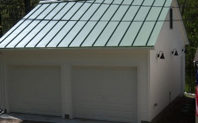 garage with metal roof